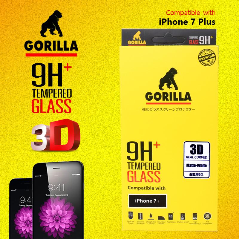 ฟิล์มกระจก แบบด้าน iphone 7 plus gorilla New 3D Real Curved เต็มจอคลุมขอบ