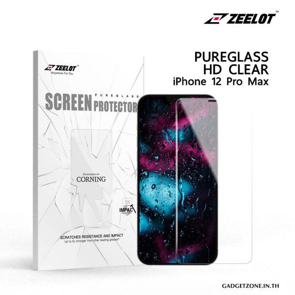ฟิล์มกระจก zeelot iphone 12 pro max แบบใสไร้ขอบ